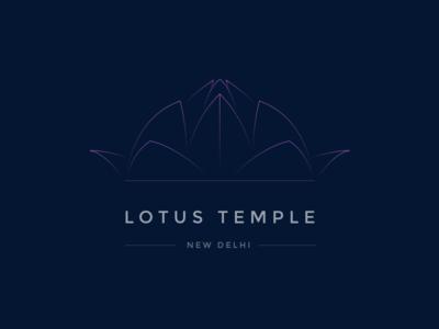 Lotus Temple ui logo india sketch gradient line new delhi city lotus design temple