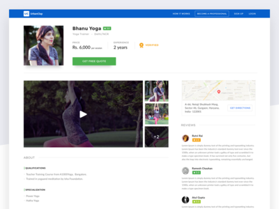 UrbanClap partner's profile  sketch ux ui web flat about ratings diffuse shadow info reviews design profile