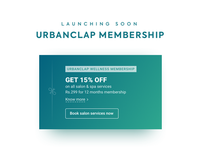 UrbanClap Membership sketch ios android typography design gradient banner card