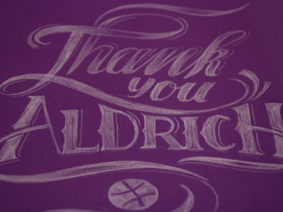 Thank you! invite first shot handdrawn lettering