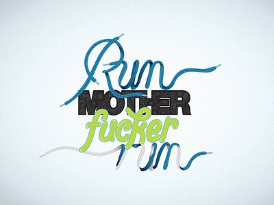 Run t-shirt vector type lettering typography