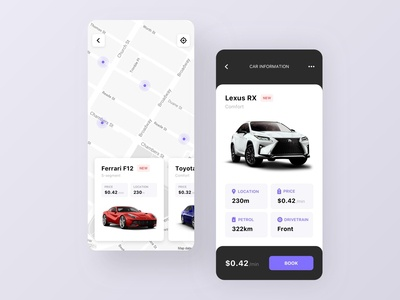 Car Sharing App concept ui booking app car rent location car ride sharing car booking car sharing