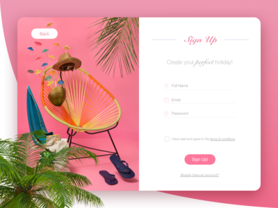 Day 001 ui sign up rounded pink holiday form flat dailyui daily buttons