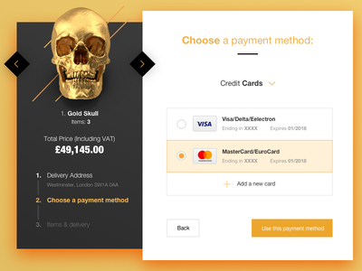 Day 002 ecommerce payment credit card ui gold shopping form flat dailyui daily buttons