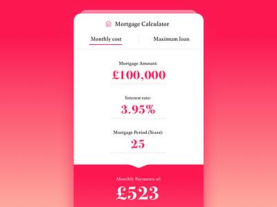 Day 004 mortgage ui mobile flat finance dailyui daily calculator