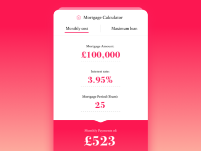 Day 004 mortgage ui mobile flat finance dailyui daily calculator