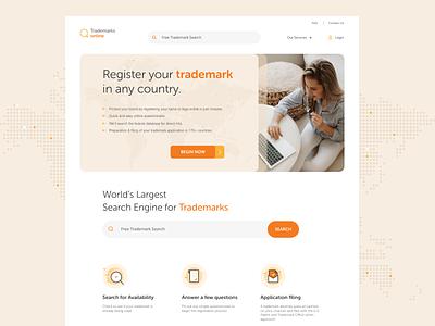 Website Design : Trademarks online landingpage online webdesign website trademark