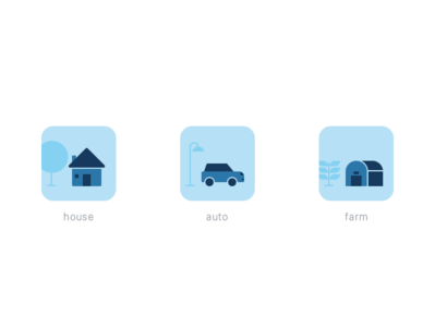 Insurance category icons blue iphone app icon vector design concept sketch pen icons ui flat branding illustration