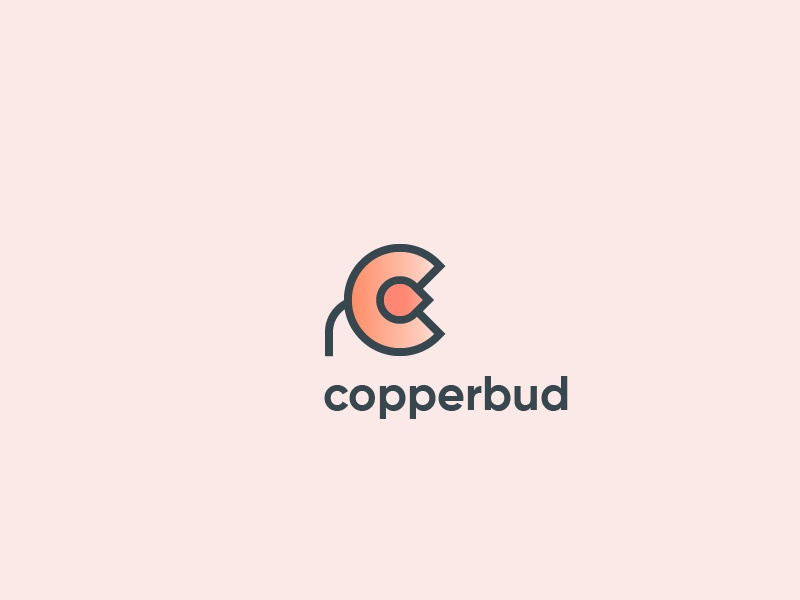 Copperbud copper branding bud icon logo