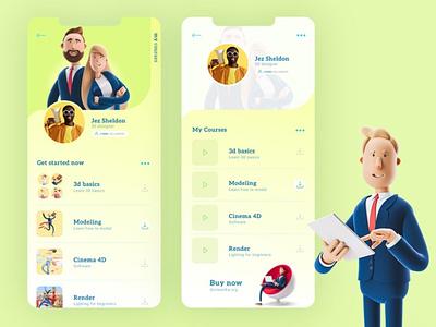 Learning Mobile App Concept vector protopie creative typography branding ui ilustração ui design learning mobile app mobile ui mobile uidesign ux