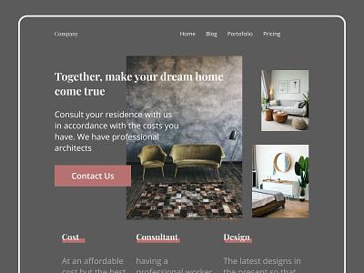 Interior Design Website - Header ui  ux uiux web design website design website web webdesign uidesign ui design ui figmadesign design figma