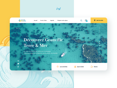 Granville Tourism Landing page tourism yellow blue boat water sea branding landing page webdesign web interface ux ui design