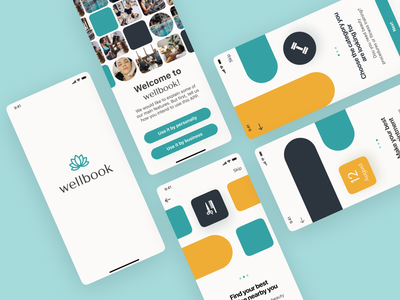 Fitness & Beauty Booking App. Welcome screens minimalistic aesthetic blue and yellow design trendy design trending app ui design app ui ux app ui app uiux geometry geometric design wellness app booking app beauty app fitness app application app design colorful design ui