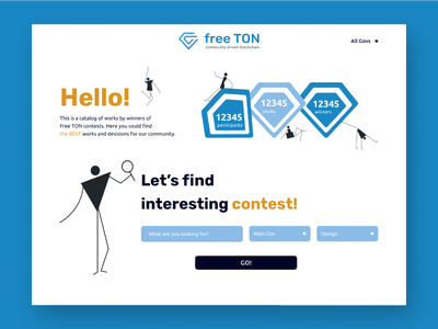 Main page for contests catalog typography trendy design vector trending illustration minimal colorful website web ui