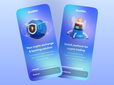 Walkthrough Screen (Onboarding)| Quallet darkmode dark mode graphic design design animation uiux mobile branding illustration typography