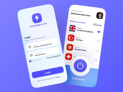 Thunder VPN dashboard cards ui app sketchapp figma design figma protopie prototyping user experience user interface design uidesign boldfont typography vpn