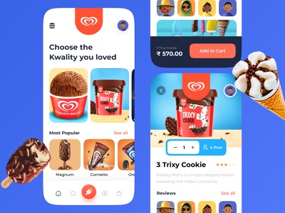 Ice Cream App UI Design logodesign bottom nav navbar colorful color palette clean ui gradient ios app design ios app uiux ui application animation apple app design app ice icecream