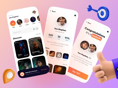 Social Dating App | UI/UX Design app storytelling clean design clean ui minimalistic card design cards ui profile card profile profileui 3dillustration uiux uxdesign uidesign app design socialapp socialmedia datingapp