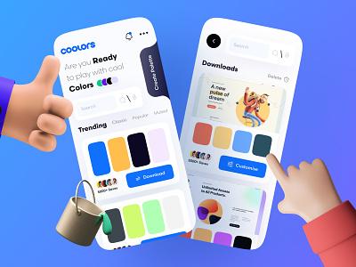 Color Palette App sketch dribbble gradient color gradients neumorphism ui neumorphic skeuomorphic figma meshfill gradient color palette color ui ux logo dark mode uiux