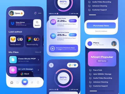 Dark Mode Storage App cloud app saas app premium button progressbar charts chart ios app big sur macos big sur neumorphism ui skeuomorphism darkmode website design app design appuiux application ui storage
