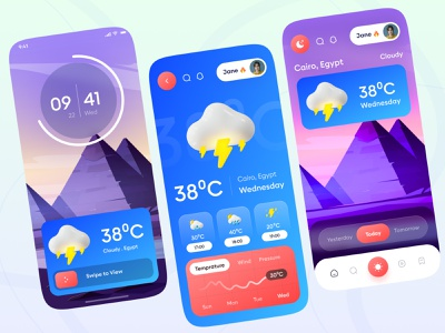 Modern Weather App Design adobe xd figma dribblers clean ui weather icon 3d icon temprature weather app weather forecast weather