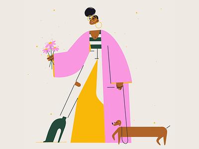 Tuesday Morning doggo animal dachshund walk yellow pink flowers style fashion coat dog procreate ipadpro graphic design sketch character design illustration