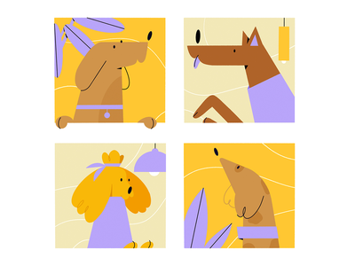 Socializing 2d character socializing cute dogs spot illustration simple illustration web illustration graphic design illustration dog doggo design character animal