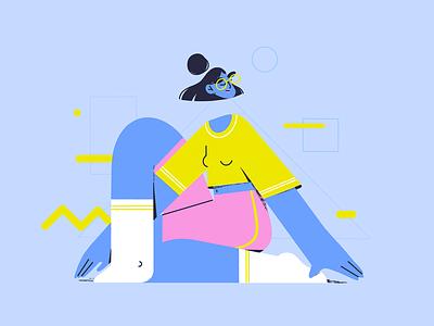 Dear Body neon colors geometric woman illustration design character yoga body positivity self love