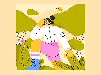 The Explorer girl adventure seek find sport hike nature illustration character woman jungle explorer