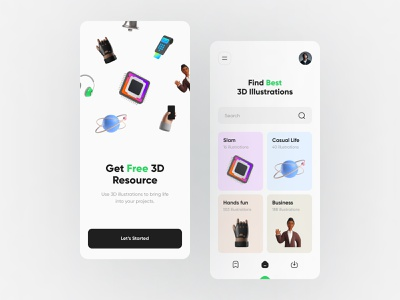 3D Resource Mobile App rayfan tio saputro design illustration 3d design vector clean ui 3d resource resource 3d illustration 3d mobile app mobile ux ui