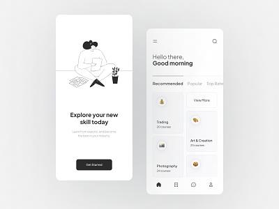 Online Courses Mobile App onboarding interface mobileinspiration blackandwhite uidesign uiuxdesign inspiration ux ui app design mobile ui mobile design minimalism flat courses app