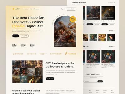Artsy - NFT Marketplace Website header landing page web design website ui design ui classic art digital artworks bid auction ethereum nft marketplace nft