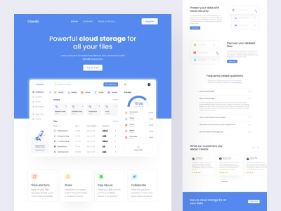 Cloudo - Cloud Storage Landing Page minimalism ux website header landing page uiux ui design ui web design web folders files file manager cloud storage cloud