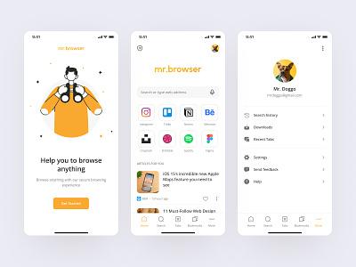 Mr. Browser - Browser Mobile App onboarding setting design clean ui vpn popular shot ui design uiux ux ui mobile design mobile mobile app browser