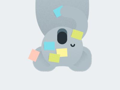 Hanging koala texture vector illustration post-it koala wip