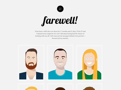 Farewell gift for my colleagues at Google responsive ajax portraits farewell website illustration