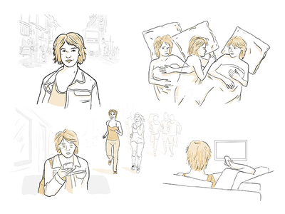 Sketches for a storyboard illustration character sketch persona storyboard