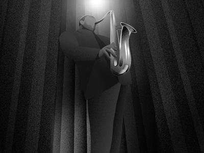 Tribute to John Coltrane texture vector illustration dark light sketch