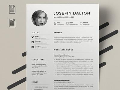 2021 | Clean |  Minimalist Resume | Free Docs Bundle coverletter professional resume creative design resume template cv design design