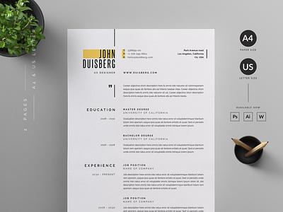 Professional Resume Template Modern, CV Template design coverletter professional resume creative design resume resume template