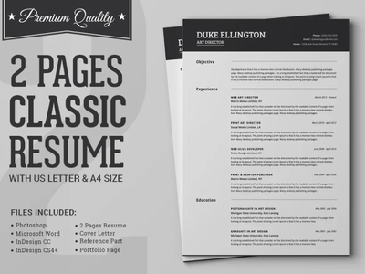 Two Pages Classic Resume CV Template cv template design illustration professional resume coverletter creative design resume template resume