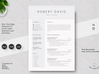 Resume Template Word & Pages, Google Docs Resume, Clean CVCertif resume coverletter cv template professional resume creative design resume template