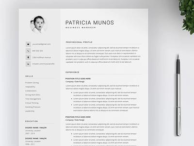 Resume Template 4 pages illustration logo cv template design professional resume resume template resume coverletter