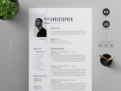 Resume Template | Resume Template Word | Mac Pages | Modern CV illustration professional resume creative design coverletter resume template