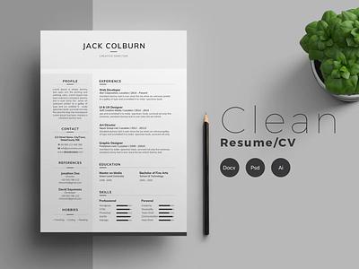 Resume/CV - Clean resume coverletter resume template cv template cv design