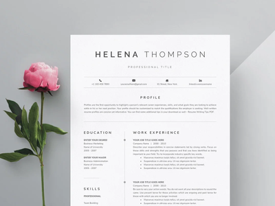 Word Resume & Cover Letter Template cv template professional resume creative design resume resume template
