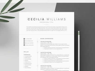 Clean Modern Resume Template professional resume resume template resume coverletter creative design