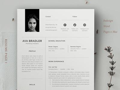Resume / Cv / Ava illustration coverletter professional resume creative design resume resume template