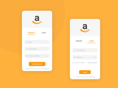 01. Registration and Login screen - Amazon redesign dailyui app redesign app sign up screen sign up page sign up form sign up login design login form login page login screen log in register form registration register registration page registration form amazon redesign