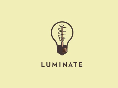 Luminate bulb icon illustration logo spark filament retro lighting luminous concept idea lightbulb lights light
